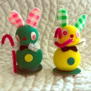 Vintage Flocked Easter bunnies Japan